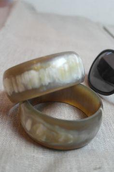 Polished Cow horn Bracelet.