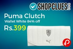 Shopclues is offering 84% off on Puma Clutch Wallet White 84% off just at Rs.399 only. Casual Occasion.