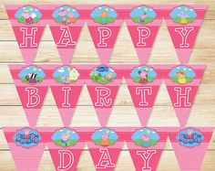 Peppa Pig Birthday Banner Pink Chevron // by ApothecaryTables