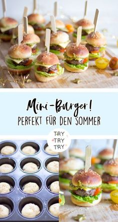 Mini-Burger The post Der perfekte Party Snack! Mini-Burger appeared first on Fingerfood Rezepte. Party Finger Foods, Snacks Für Party, Vegan Appetizers, Appetizers For Party, Fingerfood Party, Hamburgers, Healthy Drinks, Healthy Snacks, Healthy Recipes