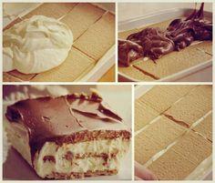 Nu ai cum sa-i rezisti: Prajitura Ecler, fara coacere! Romanian Desserts, Sweet Tarts, Tiramisu, Pudding, Sweets, Candy, Cookies, Ethnic Recipes, Food
