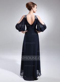 A-Line/Princess V-neck Asymmetrical Chiffon Mother of the Bride Dress With Beading Cascading Ruffles (008005761)