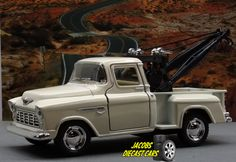 1:32 KINSMART 1955 CHEVY 3100 STEPSIDE TOW TRUCK (Cream) Perfect for Diorama use #Kinsmart #Chevrolet