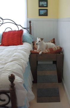 Wood Raised Dog Bed Furniture. Put Your Pet Next to by LoveOfBeach Dog Bed Frame, Wood Dog Bed, Diy Dog Bed, Dog Ramp For Bed, Raised Dog Beds, Elevated Dog Bed, Dog Furniture, Handmade Furniture, Etsy Furniture