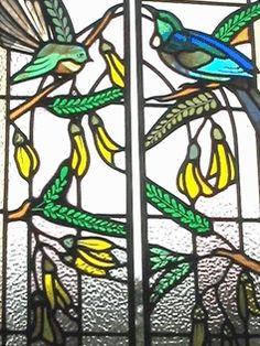 Stained glass window with NZ birds - fantail and tui. Stained Glass Studio, Stained Glass Birds, Stained Glass Windows, Mosaic Glass, Glass Art, Tui Bird, School Murals, Kiwiana, Bird Design
