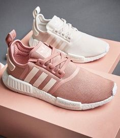 Adidas sneakers in pastel pink and white