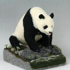 Needle felted Panda by K A J I, via Flickr