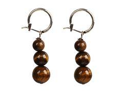 Beautiful Long Style Graduated Tiger Eye Stone Beads Dangle Earrings