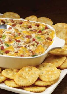 Your friends will be begging for the recipe for this warm and creamy bacon and cheese dip!