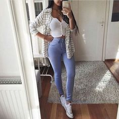 Summer Outfits Casual For Curvy Girls, Cute Outfits For School, Business Casual Outfits, Stylish Outfits, Fall Outfits, Cheap Outfits, Moda Outfits, White Shirt And Blue Jeans, White Jeans Outfit