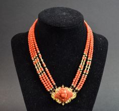 Coral & Gold Necklace w/ Coral in Cameo Pendant