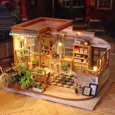 DIY Romantic Coffee Shop Miniature Doll House Kit 1:24 | Etsy Miniature Crafts, Miniature Houses, Miniature Dolls, Mini Houses, Miniature Food, Dollhouse Kits, Wooden Dollhouse, Dollhouse Miniatures, Muñeca Diy