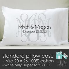 Monogram bridal pillow - standard pillow size case - perfect wedding gift for the newlyweds on Etsy, $24.50