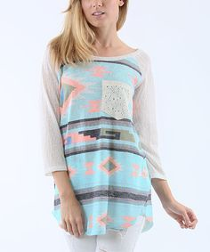Loving this 42POPS Mint Geometric Three-Quarter Sleeve Top on #zulily! #zulilyfinds