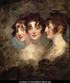 Triple portrait by Sir Thomas Lawrence. [Crosswise parting not clearly shown, but front hair in a few distinct ringlets, over the eyebrows and in front of the ears. Back hair in loose loops or large curls, giving some height.]