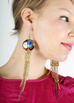 Long and beautiful Golden Jellyfish earrings by PiiaMyllerDesign, €17.50
