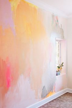 Bright, happy styled bedroom idea with painted abstract mural in earthy summer c… – Bedroom Ideas – Bedroom Decoration Home Decor Accessories, Home Decor Styles, Cheap Home Decor, Diy Room Decor, Bedroom Decor, Wall Decor, Bedroom Ideas, Murs Pastel, Watercolor Walls