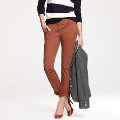 JC warm redwood bennett chino, cashmere strip turtleneck, patent mona, donegal tweed schoolboy blazer