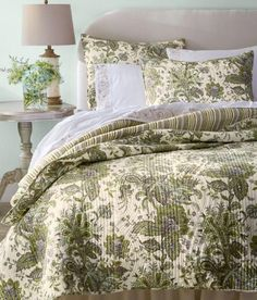 Pretty patterns of quilting add richness to a graceful floral print. (Country Curtains Woodland Floral Quilt)