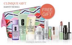 Clinique gift - free with 2 products purchase at Harvey Nichols (UK). Available instore only. http://clinique-bonus.com/united-kingdom/