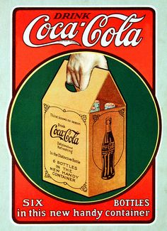 By the Coca Cola became synonymous with American culture. People were off to the store buying two or three bottles at a time, the Coca Cola company took advantage of this trend and invented the six pack, which is the norm in today's market Propaganda Coca Cola, Coca Cola Poster, Coca Cola Drink, Cola Drinks, Coca Cola Ad, Always Coca Cola, Coca Cola Vintage, Advertising Signs, Vintage Advertisements