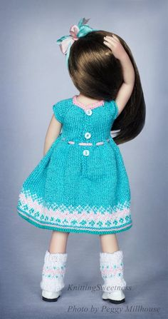 Dianna Effner Little Darling doll clothing, Set of clothes for 13 inch doll Little Darling, Little Darling dress, Dianna Effner doll clothes Knitted Doll Jacket, Knitted Dolls, Crochet Dolls, Sailor Outfits, Jacquard Dress, Little Darlings, On Your Wedding Day, Crochet Flowers, Outfit Sets