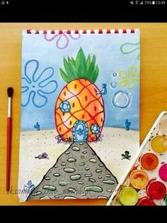 My Disney drawing - Live in a pineapple under the sea. - My Disney drawing – Live in a pineapple under the sea. Cool Art Drawings, Pencil Art Drawings, Art Drawings Sketches, Disney Drawings, Easy Drawings, Drawing Disney, Summer Drawings, Sharpie Drawings, Cute Canvas Paintings