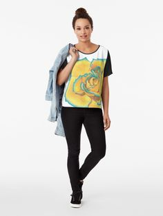 """""""Yellow and Turquoise Rose"""" T-shirt by -LAM- Rose T Shirt, Polychromos, Tshirt Colors, Heather Grey, Classic T Shirts, Shirt Designs, Slim, Turquoise, Yellow"""