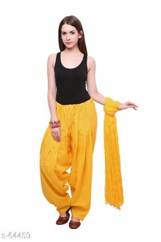 Ethnic Bottomwear - Patiala Pants Trendy Cotton Patiala & Dupatta Set Fabric: Patiala - Cotton Dupatta - Cotton Waist Size: Patiala - Up to 28 in to 40 in (Free Size) Dupatta - 2.25 Mtr Length: Patiala - Up To 41 in Type: Stitched Description: It Has 1 Piece Of Patiala & 1 Piece Of Dupatta Pattern: Solid  Country of Origin: India Sizes Available: Free Size   Catalog Rating: ★4 (355)  Catalog Name: Frenzy of Patiala-2 CatalogID_6578 C74-SC1018 Code: 363-64459-9401