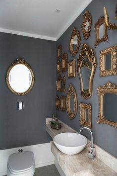 Henrique Steyer - gilded mirrors, grey walls, white crown molding, white vessel sink wall An apartment in Brazil defined by luxury and eclecticism Feng Shui Dicas, White Vessel Sink, Eclectic Bathroom, Bathroom Interior, Gold Interior, Eclectic Decor, Modern Bathroom, Wall Decor, Room Decor