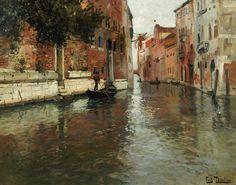 venetian painters | Venetian Backwater Painting by Fritz Thaulow - A Venetian Backwater ...
