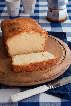 GF pound cake: 1/2 C butter room temp;  1 C sugar; 3 large eggs room temp; 1 ½ C  GF baking mix; 1/2 C sour cream or greek yogurt... preheat oven to 350F...