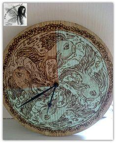 Zegar ścienny, ręcznie wypalany www.sindarin.bazarek.pl