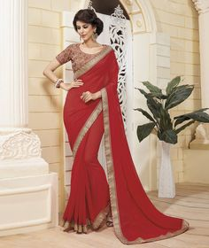 Red Georgette Party Wear Saree 78801