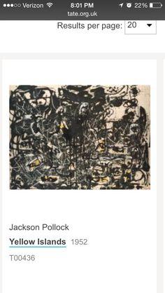 Jackson Pollock 1952 yellow islands abstract