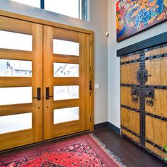 Double Front Doors Design, Pictures, Remodel, Decor and Ideas - page 5 Plumb Double Front Doors, Glass Front Door, Glass Door, Front Entry, Dream Home Design, My Dream Home, House Design, Exterior Front Doors, Entry Doors
