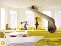 slide leading into the kids playroom/movie room  credit: Ab Rogers [http://www.abrogers.com/projects/view/rainbow-house]