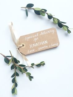 Custom order gift tags from Santa! Www.mbcalligraphy.com