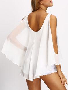 Blusa hombro abierto cuello V profunda -blanco-Spanish SheIn(Sheinside) Sitio Móvil