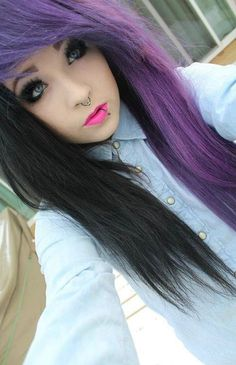 purple black split dyed hair