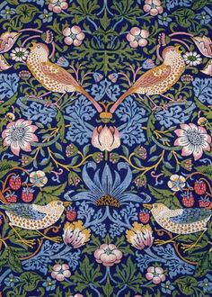 """The Strawberry Thief"" Morris and Co. Tiles from Textiles : William Morris Tile William Morris Wallpaper, William Morris Art, Morris Wallpapers, Motifs Textiles, Textile Patterns, Textile Design, Stitch Patterns, Floral Patterns, Print Patterns"