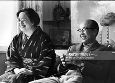Japanese engineer, industrialist and founder of the Honda corporation Soichiro Honda (1906 - 1991) and his wife Sachi, Tokyo, Japan, 1967.