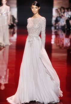 New Arrival Elie Saab Lace Appliqued Beaded Long Sleeves Prom Dresses 2014 Long Evening Gowns Custom Made