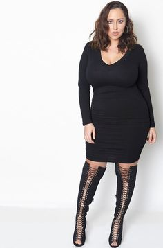 """Rebdolls """"Can't Tell Me Nothin"""" Ruched V-Neck Midi Dress"""