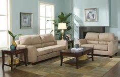 Sage Microfiber Modern Living Room w/Super-Soft Pub Back Pillows   Furniture Clue
