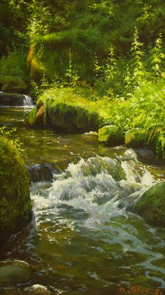 Dmitry and Victoria Levin Watercolor Landscape, Landscape Art, Landscape Paintings, Amazing Paintings, Nature Paintings, Digital Paintings, Waterfall Paintings, Guache, Water Art