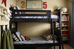 boys room bunk then book shelf