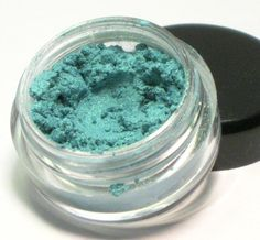 Permanent Collection Shadow: Candy from Strangers. This Sweet Libertine Cosmetics mineral eyeshadow is a bright teal with a distinct gold shimmer. Vegan.
