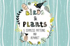 FREE! (4 July - 11 July 2016 only. Download now!) Birds&Plants by daria_miazhevich on @creativemarket