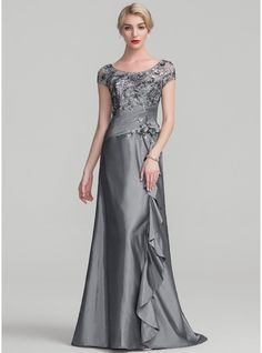 A-Line/Princess Scoop Neck Sweep Train Beading Flower(s) Sequins Cascading Ruffles Zipper Up Sleeves Short Sleeves No Other Colors General Plus Taffeta Sequined Height:5.7ft Bust:33in Waist:24in Hips:34in US 2 / UK 6 / EU 32 Mother of the Bride Dress, JJsHouse.co.uk